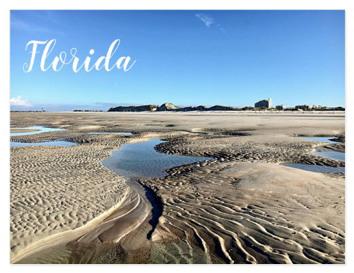 Florida low tide sand photography postcard