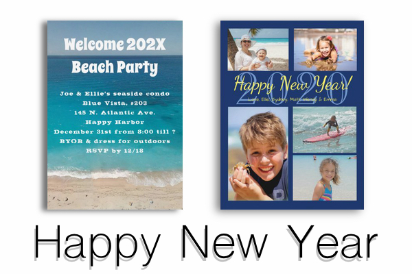 Happy New Year photo cards and party invitations