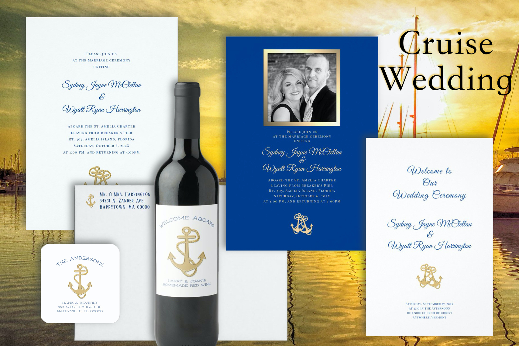 Nautical anchors gold navy blue wedding suite