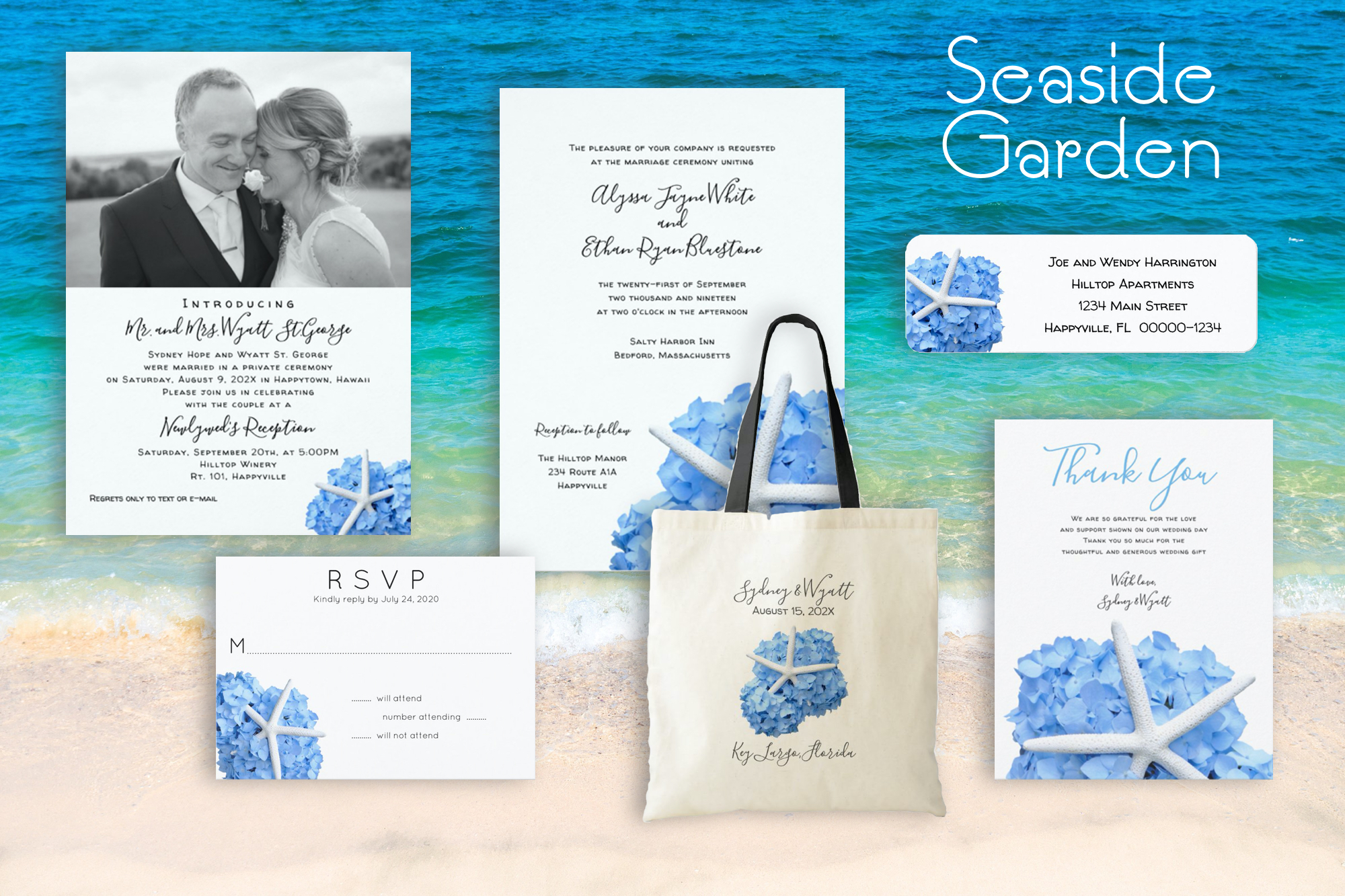 Seaside Garden wedding stationery set with starfish and flowers. Blue hydrangea invitations, bags, rsvp labels and more