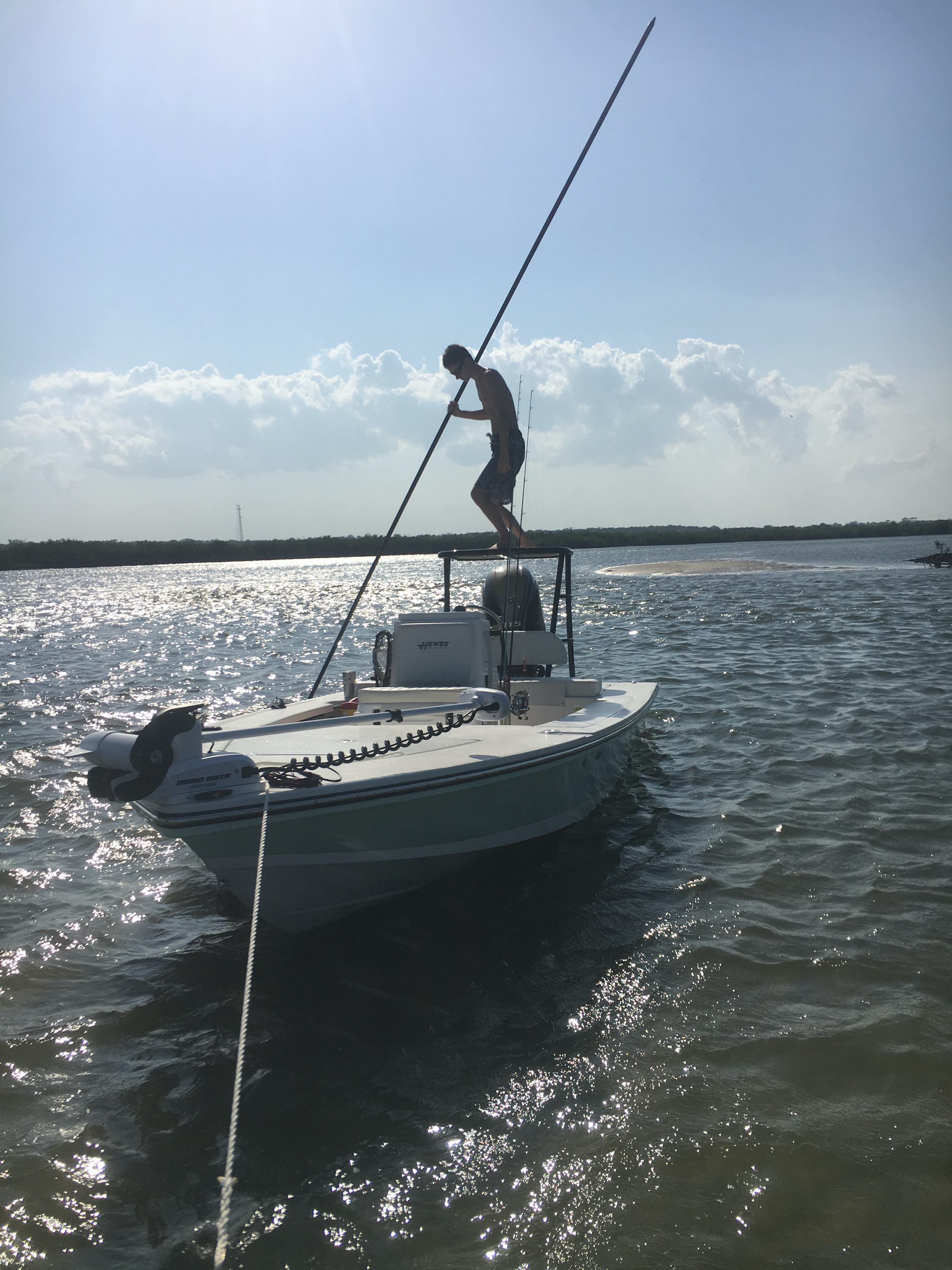boat with poling platform being used
