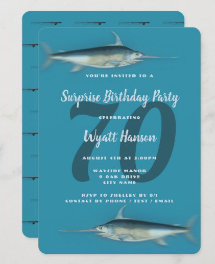 Surprise birthday party invitation fishing theme saltwater fish age center milestone rod n reel pattern dark blue