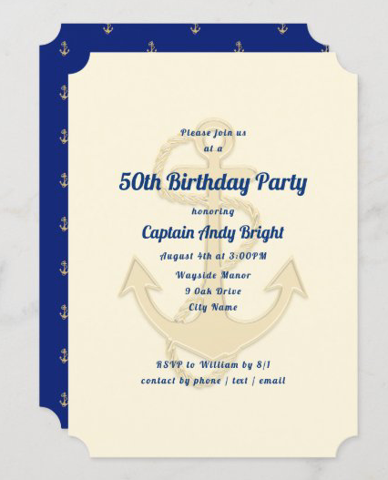 Big anchor nautical birthday party invitation masculine ecru navy blue captain seaman