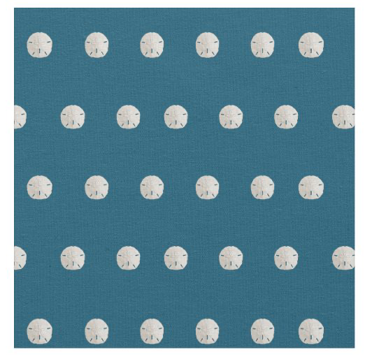 Sand dollar fabric navy blue tiny pattern white seashells crafts sewing material size options