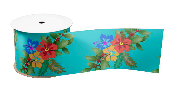 Fabric and ribbon with a tropical theme for making crafts, wrapping gifts or decorating a home.