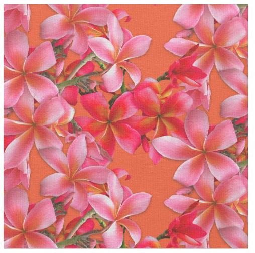 Plumeria flowers fabric craft sewing crafting decor pink orange frangipani hawaiian floral print pattern size material selection