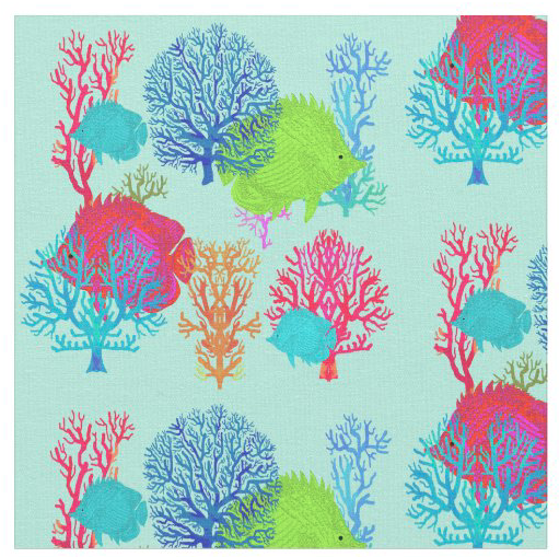 Under the sea pattern fabric light blue pink lime tropical kids fun crafting sewing decorating sea life print kids children
