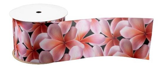 Wide ribbon pink plumeria orange Hawaiian flowers floral print bow making craft satin grosgrain