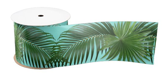 Palm fronds leaves ribbon green blue tropical crafts bows decorating