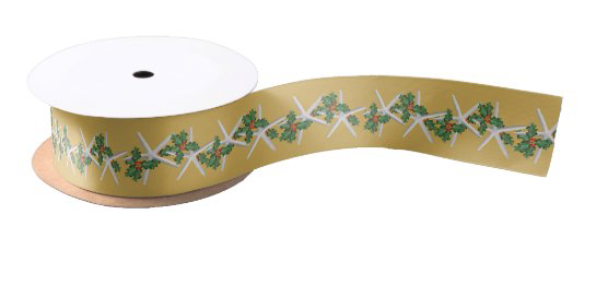 Starfish Christmas ribbon holly swag pattern tropical gold beach theme sea stars coastal decorating wrapping gifts