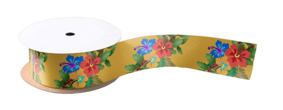 Hibiscus swag ribbon gold floral Hawaiian tropical pattern floral colorful