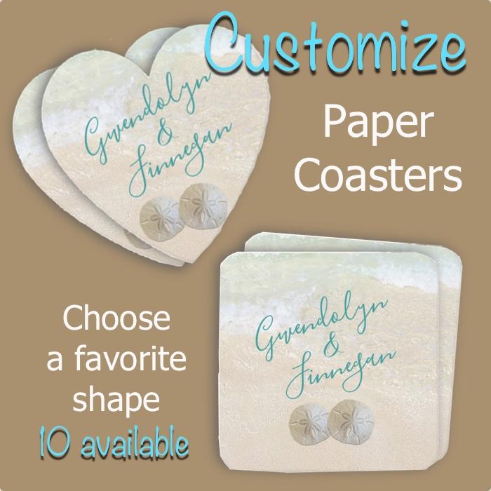 Paper drink coasters beach wedding