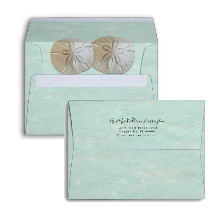 Beach wedding envelopes return address and sand dollars