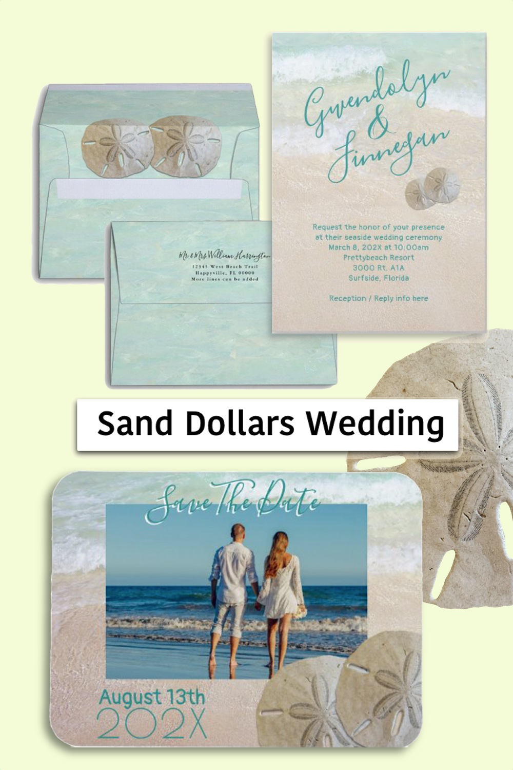 Two sand dollars wedding stationery beach background modern tropical set