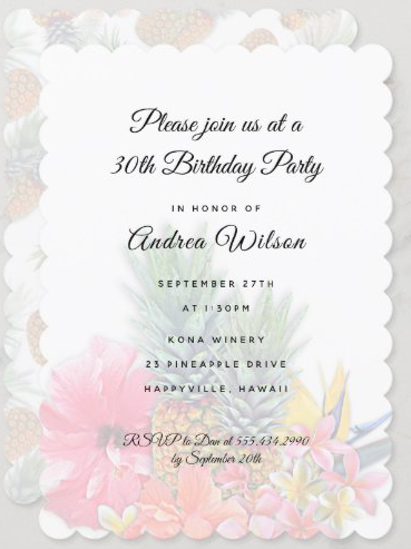 Woman's birthday party invitation Hawaiian theme pineapples tropical flowers hibiscus plumeria pink scalloped edge feminine
