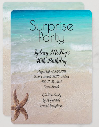Beach birthday surprise party starfish sea star blue ocean sand invitation template