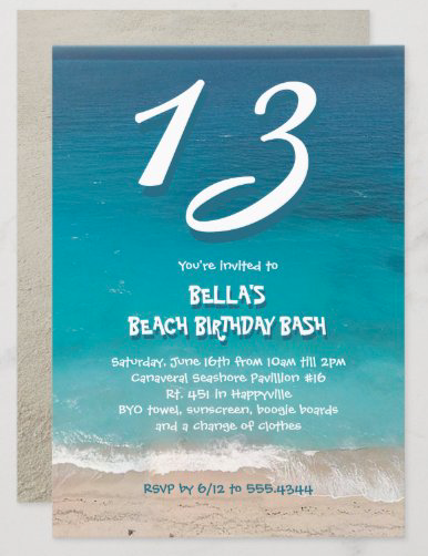 Teen beach party invitation age top blue ocean water sea sand fun font teenager outdoor seaside summer birthday