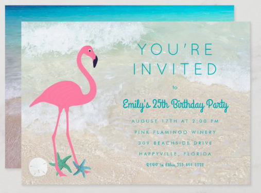 Flamingo beach birthday party invitation summer seaside tropical