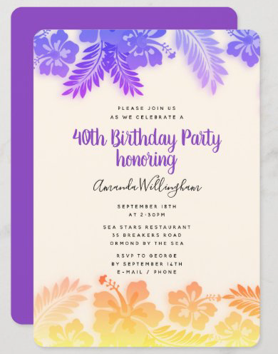 Purple floral birthday party invitation hibiscus tropical flowers floral border yellow feminine woman women Hawaiian theme