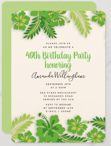 Bold lime hibiscus party invitation birthday template tropical flowers border teen girl woman feminine template