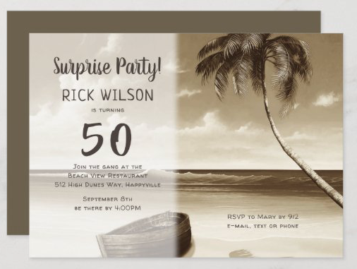 Palm tree island birthday party invitation masculine rowboat deserted beach theme sepia