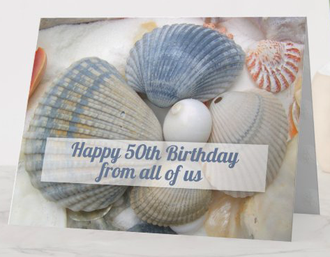 Folded birthday card beach shells blue seashells photography custom wording size options from all group wishes