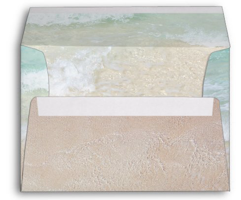 Decorated envelope beach scene sea water tropical coastal waves sand return address blue water background A7