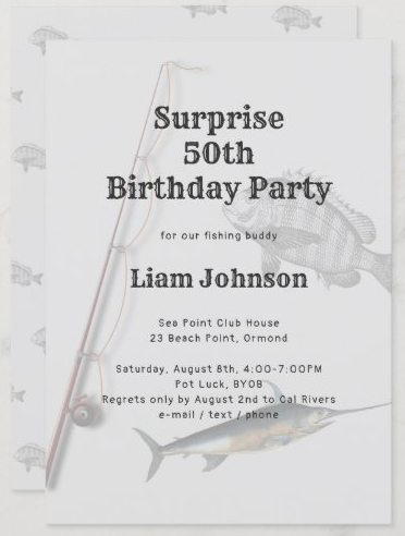 Surprise party adult fishing theme invitation light gray saltwater fish rod n reel man masculine