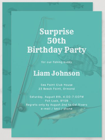 surprise birthday party for man fishing theme adult saltwater rod n reel fisherman invitation template dark turquoise teal