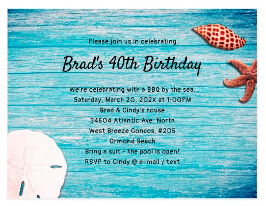 Blue wood seashells birthday party invitation template horizontal unisex starfish sand dollar beach theme