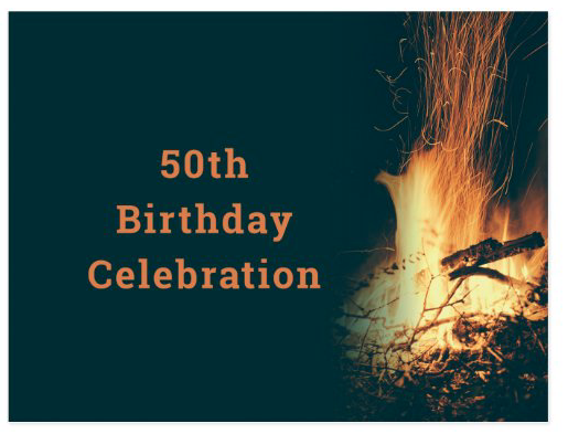 bonfire birthday party invitation outdoor party backyard fire celebration custom text double-sided