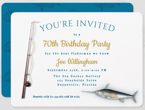 Fishing theme adult male birthday party invitation white blue gold saltwater fish rod n reel pole