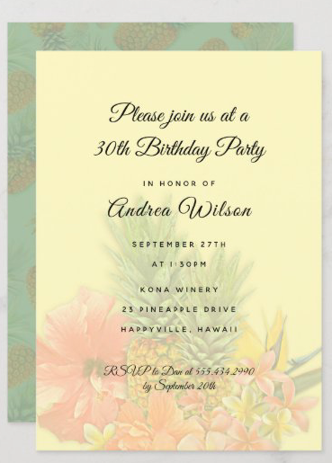 Birthday party for her invitation yellow green Hawaiian tropical background image pineapples flowers hibiscus feminine woman