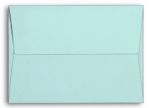 Aqua blue envelopes sand dollar design front under flap seashell beach shell A7 cards invitations