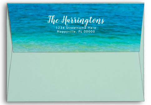 Light sea green A7 envelope return address flap sea water blue ocean tropical party mailing