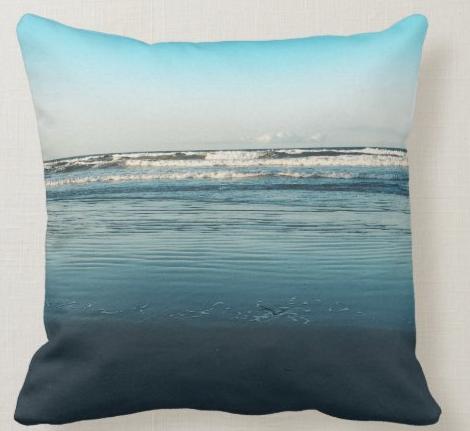 beach scene waves pillow surf dark blue coastal seaside seacoast