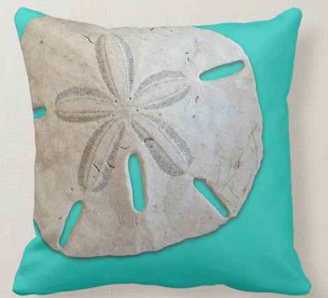 sand dollar pillow turquoise
