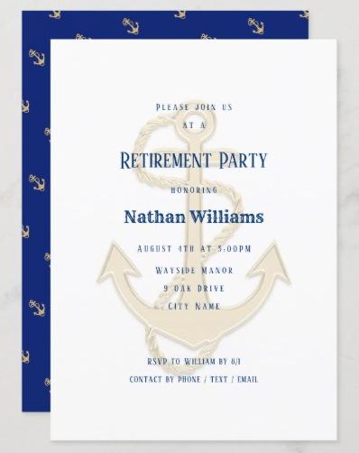 Nautical retirement party invitation anchor navy blue masculine men