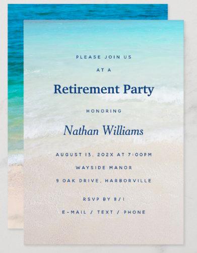 Retirement party beach theme man retiring ocean coastal