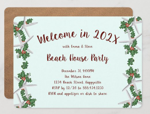 Beach themed new years eve party invitation with starfish and holly pale blue