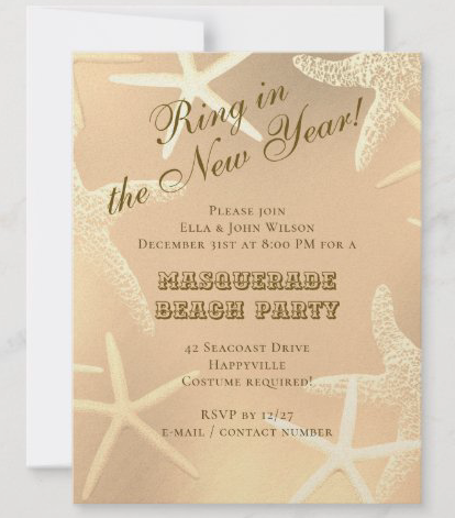 Sea stars New Year's eve party invitations starfish gold modern angled text beach theme