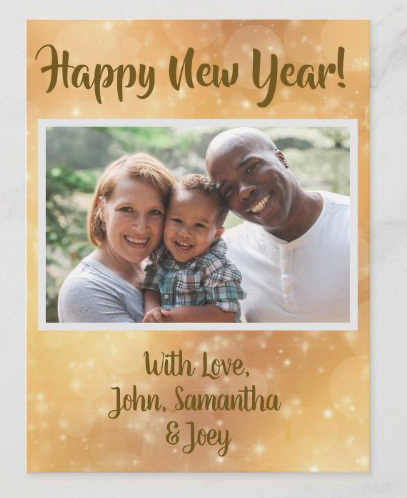 Photo Happy New Year postcard greeting gold twinkling stars bubbles gold