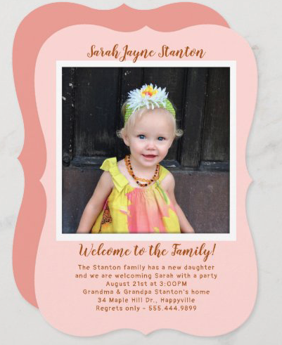 girls adoption notice with photo template in coral pink welcome to family
