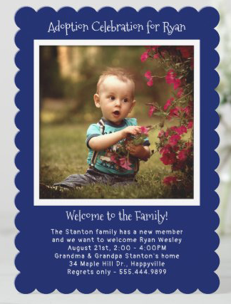 baby boy photo adoption cards welcome to family navy blue