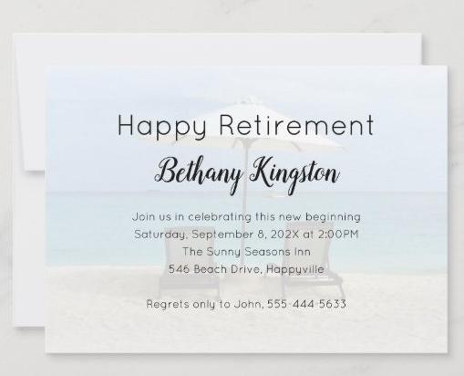 two beach chairs retirement party invitation umbrella seaside seacoast men women