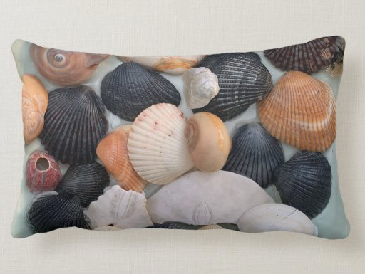 Black and colorful seashells pillow