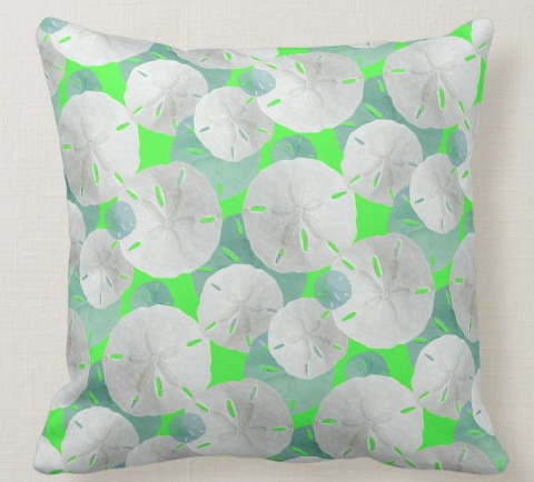 lime green sand dollar pattern pillow