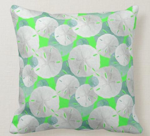 lime green sand dollar pattern pillow seashells beach shells bright tropical