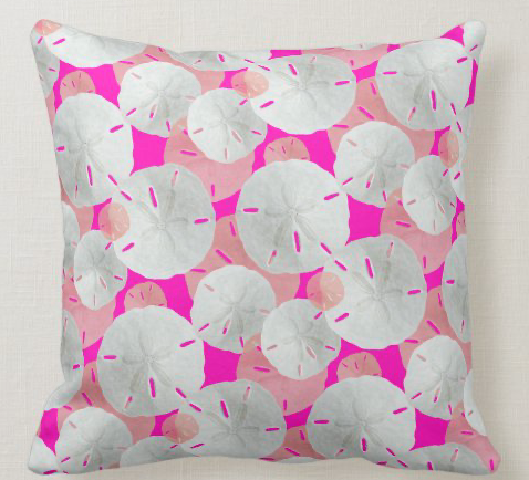 sand dollar pillow in hot pink color