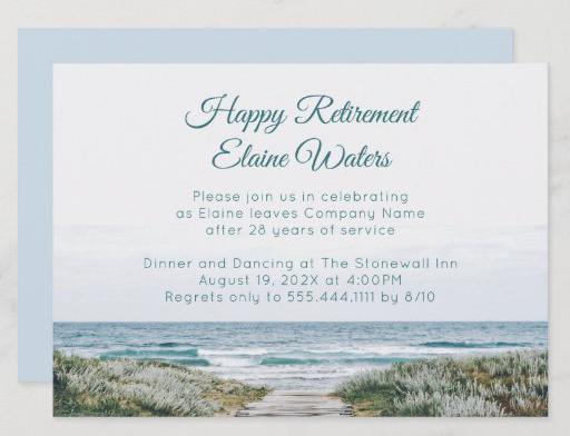 Beach boardwalk retirement party invitation unisex peaceful seaside serene